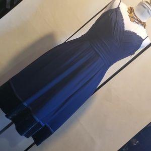 NWOT LAUNDRY BY SHELLI SEGAL NAVY SILK DRESS *21